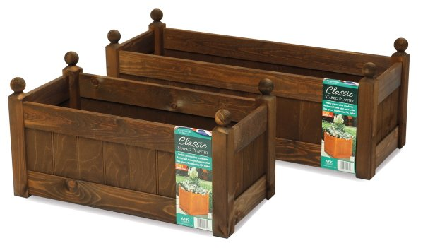 87cm Timber Chestnut Stain Classic Trough Planter