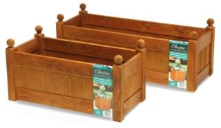 87cm Timber Beech Stain Classic Trough Planter