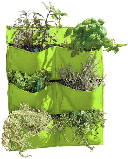 Living Wall Felt Planter 6 Pockets, Lime green 70cm (2ft 3 1/2in)