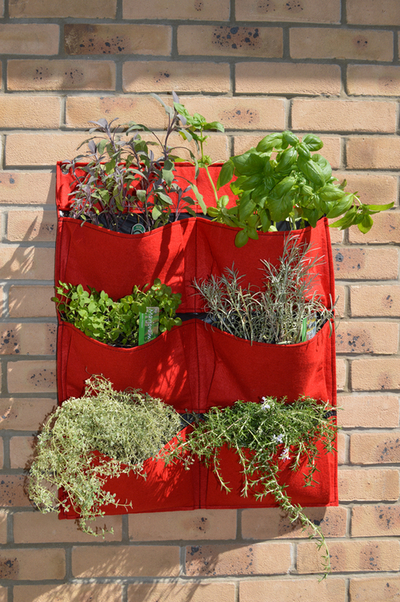Living Wall Felt Planter 6 Pockets, Red 70cm (2ft 3 1/2in)