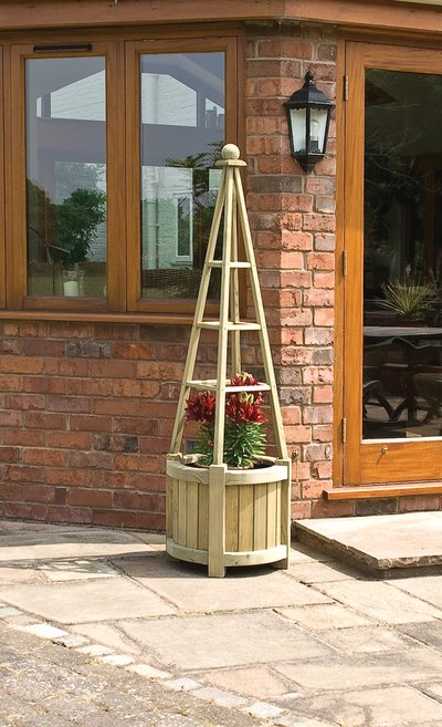 1.7m Marberry Obelisk Planter - by Rowlinson