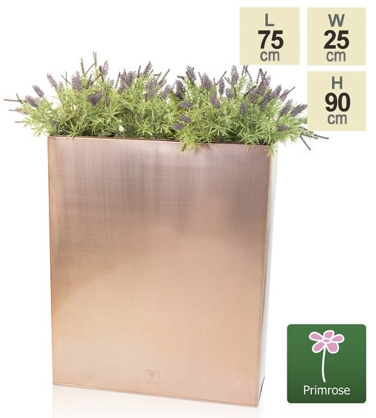 H90cm Tall Copper Trough Planter with Insert - By Primrose™