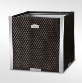 46cm Polyrattan Cube Planter with Polished Aluminium Edge available in 8 colours