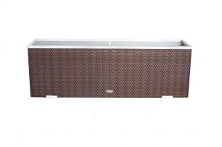 108 x 43cm Brown & Black Polyrattan Trough Planter