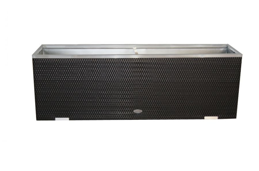 108 x 43cm Black Polyrattan Trough Planter