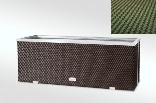 108cm x 43cm Polyrattan Trough planter In Green