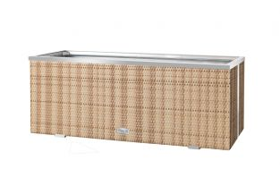 108cm x 43cm Polyrattan Trough planter In Two Tone sand