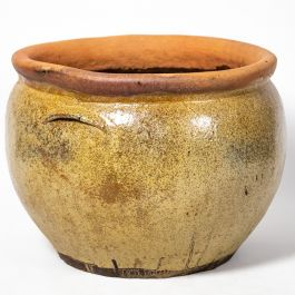 Ceramic Brown Multitonal Washed Bowl Planter, H40cm