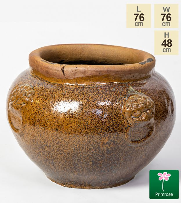 Ceramic Brown Watercolour Washed Bowl Planter, H48cm