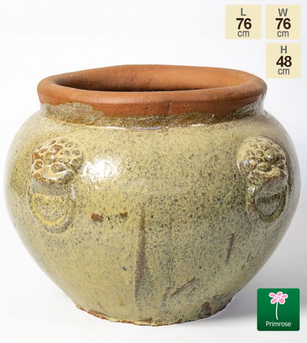 H48cm Ceramic Cream Washed Bowl Planter
