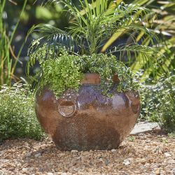 H48cm Ceramic Brown Watercolour Washed Bowl Planter
