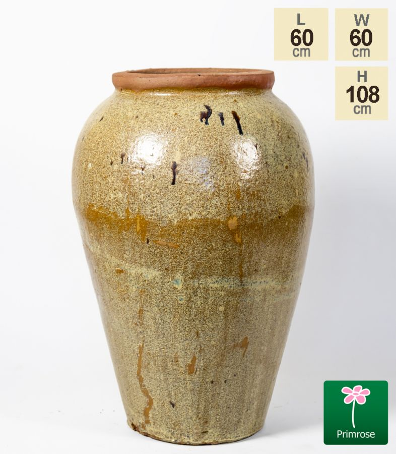 Large Ceramic Distressed Light Earth Tone Urn Planter H108cm