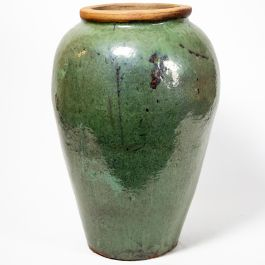 Ceramic Aqua Distressed Urn Planter, H76cm