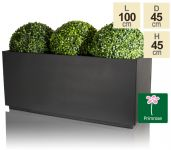 L100cm Zinc Galvanised Kick-Bottom Trough Planter in Black by Primrose®