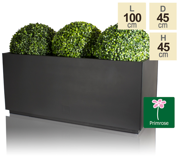 L100cm Zinc Galvanised Kick-Bottom Trough Planter in Black by Primrose™