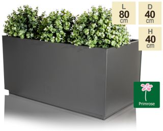 L80cm Zinc Galvanised Kick-Bottom Trough Planter in Black by Primrose™