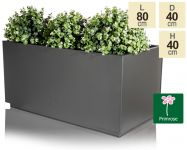 L80cm Zinc Galvanised Kick-Bottom Trough Planter in Black by Primrose®