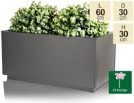 L60cm Zinc Galvanised Kick-Bottom Trough Planter in Black by Primrose®