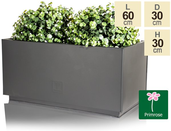 L60cm Zinc Galvanised Kick-Bottom Trough Planter in Black by Primrose™