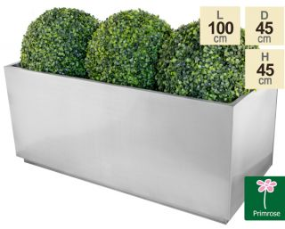 L100cm Zinc Galvanised Kick-Bottom Trough Planter in Silver by Primrose™