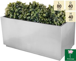 L80cm Zinc Galvanised Kick-Bottom Trough Planter in Silver by Primrose™