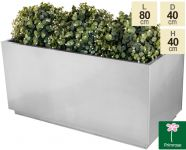 L80cm Zinc Galvanised Kick-Bottom Trough Planter in Silver by Primrose®