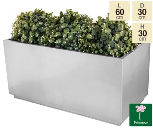 L60cm Zinc Galvanised Kick-Bottom Trough Planter in Silver by Primrose™