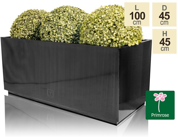 L100cm Zinc Galvanised Kick-Bottom Trough Planter in Platinum by Primrose™