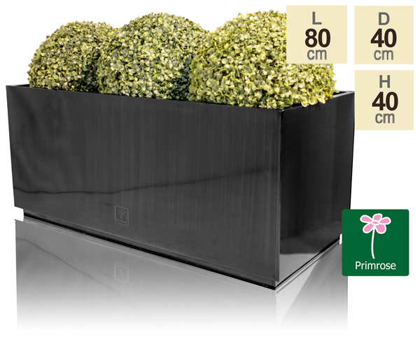 L80cm Zinc Galvanised Kick-Bottom Trough Planter in Platinum by Primrose™