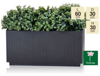 L60cm Zinc Galvanised Kick-Bottom Trough Planter in Platinum by Primrose™