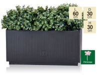 L60cm Zinc Galvanised Kick-Bottom Trough Planter in Platinum by Primrose®