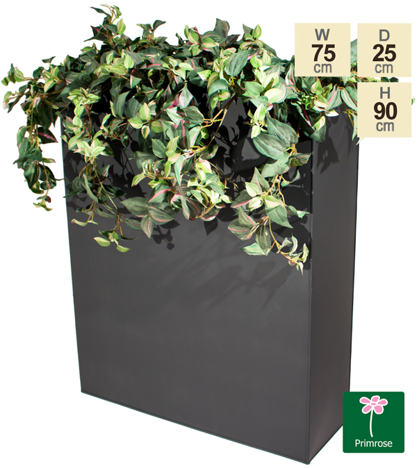 H90cm Black Zinc Tall Trough Planter with Insert - By Primrose™