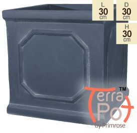 H30cm Buckingham Lead Effect Framed Cube Pot - By Terra Pot™