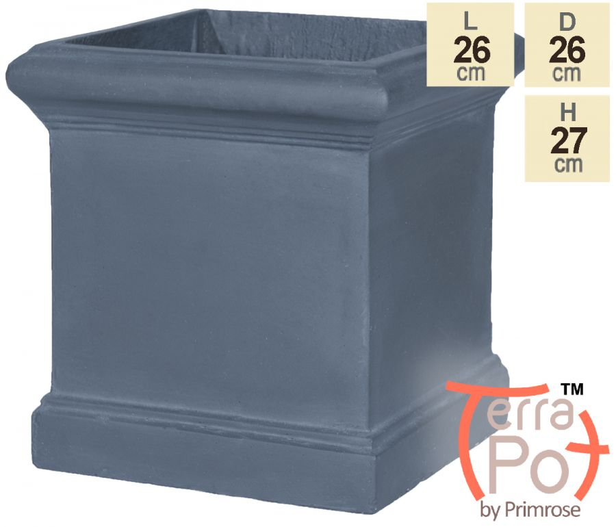H27cm Blenheim Lead Effect Cube Pot - By Terra Pot™
