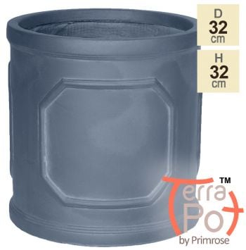 H32cm Chatsworth Lead Effect Framed Cylinder Planter - By Terra Pot™