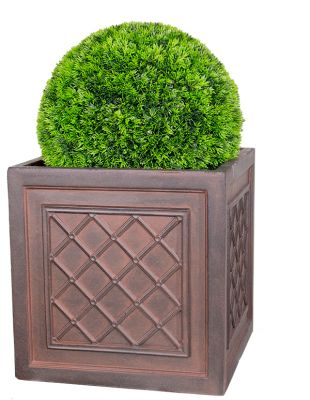 H32cm Highclere Rust Effect Lattice Cube Planter - By Terra Pot™