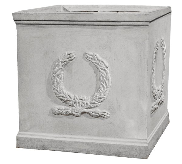 H30cm Windsor White Stone Effect Cube Planter - By Terra Pot™