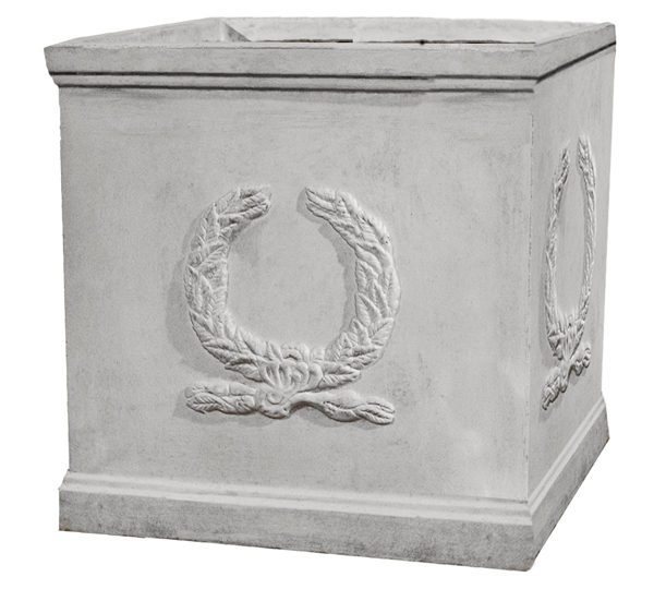 H37cm Windsor White Stone Effect Cube Planter - by Terra Pot™