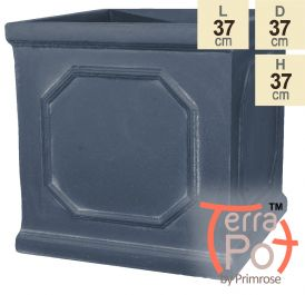 H37cm Chelsea Lead Effect Framed Cube Planter - By Terra Pot
