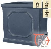 H37cm Buckingham Lead Effect Framed Cube Planter - By Terra Pot™