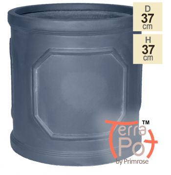 H37cm Chatsworth Lead Effect Framed Cylinder Planter - By Terra Pot™