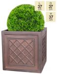 H37cm Highclere Rust Effect Lattice Cube Planter - By Terra Pot™