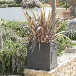 H45cm Buckingham Lead Effect Framed Cube Planter - By Terra Pot™