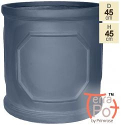 H45cm Chatsworth Lead Effect Framed Cylinder Planter - By Terra Pot™