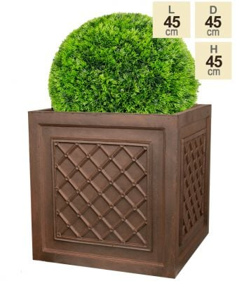 H45cm Highclere Rust Effect Lattice Cube Planter - By Terra Pot™