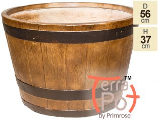 56cm Terracotta Fibrecotta Clevedon Barrel Planter by Terra Pot™