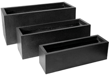 Poly Resin Rectangular Planter  Low II L88W28H28 BLK