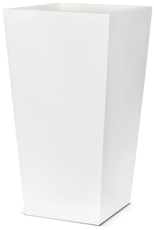 Poly Resin Tapered Planter in White - 32 x 60cm