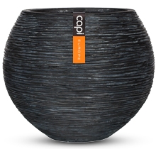 Fibre Clay Vase ball Rib Planter in Black - 40 x 32cm