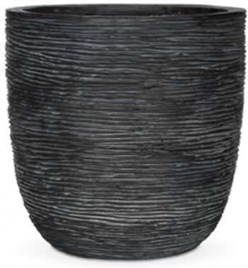 Fibrecotta Egg Rib Planter in Black - 28 x 26cm